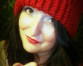 Zissou Inspired Beanie Handmade Red Knit Hat with Free US Shipping