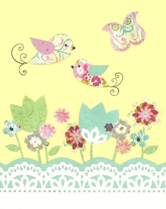 FLORAL Nursery art, little girls room, Spring flower prints, yellow aqua bedding, Garden print, Baby Birds, Butterflies, 8x10, pink blue