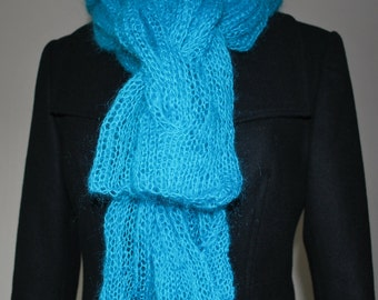 Teal knitted cabled scarf