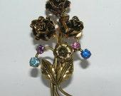 Vintage Austrian Crystal and Gold Rose Brooch
