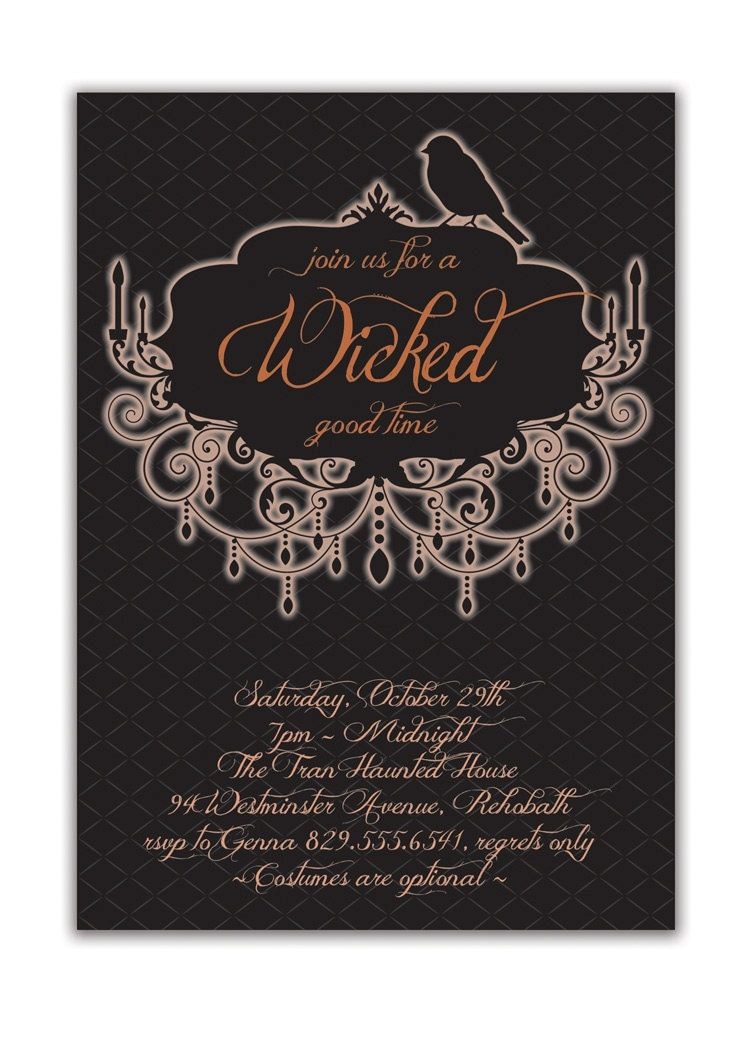 Halloween Party Invitation Adult Costume Party Invitation