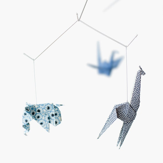Baby mobile / ZOO ORIGAMI MOBILE: Chiyogami collection Nursery decoration Baby Crib Blue v.1