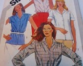 90s Sewing Pattern Shirt Button Front Simplicity 5172 Misses Size 12 UNCUT