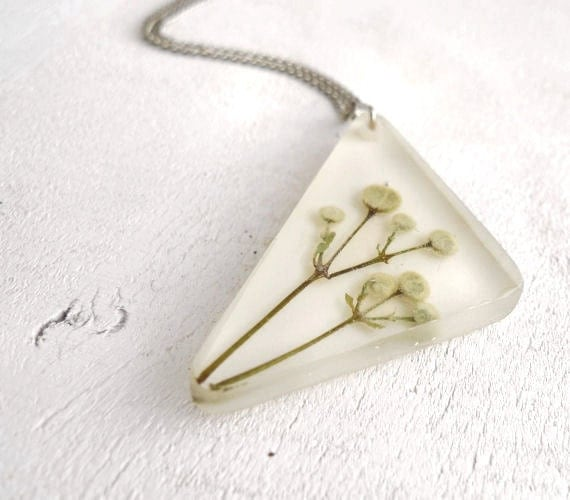 Pressed Flowers Resin Necklace - handmade gift for nature lovers