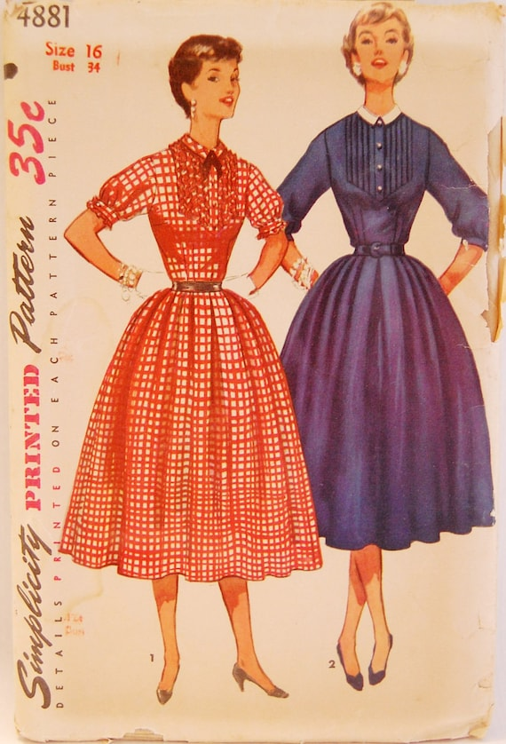 "Vintage 1950s Simplicity Misses' Women's Dress Pattern 4881 Size 16 (34"" Bust) UNCUT"