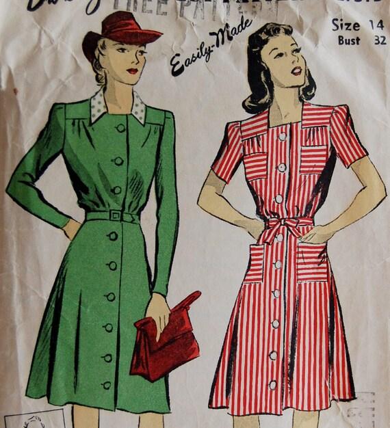 "Vintage 1940s DuBarry Misses' Dress Pattern 2731B Size 14 (32"" Bust)"