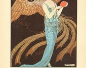 ART  DECO Print of Woman Flapper with Mythological Phoenix Bird by Barbier in 1922