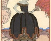 Art Deco Print of Woman in Black Ball Gown by Barbier---page from magazine