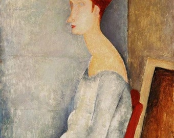 Home and Living Print of Woman with High Red Hair by Famous Modigliani
