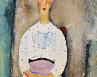 Print of Lady with Polka Dot Blouse by Modigliani