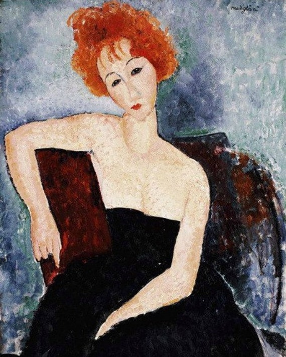 Abstract Print by famed Italian Artist Modigliani of Red Haired Woman Leaning on Chair--In Etsy Treasury
