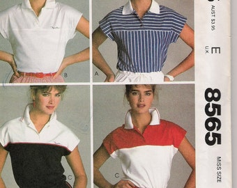 1983 McCalls 8565 Brooke Shields Signature Collection Pullover Top Size 6-8 UNCUT