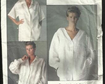 Vintage 1985 Vogue 1509 Designer Calvin Klein Classic Big Shirts Size 10