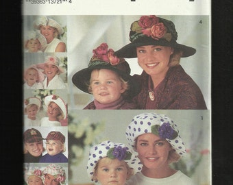 Simplicity 8268  Sunday Hats & Funday Hats for Adults and Kids  UNCUT