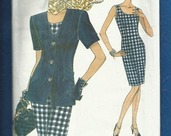 Vogue 8325 Form Fitting Scoop Neck Dress and Jacket Sizes 6 8 10