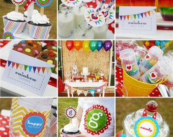 RAINBOW Party Printable Set - Invitation and Decor like Cupcake Toppers, Bunting, Favor Tags & more