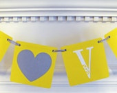 Yellow and Silver LOVE Wedding Banner