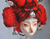 RESERVED AKANE, The Odd Princess of Brilliant Red Ooak Art Doll. Last Payment