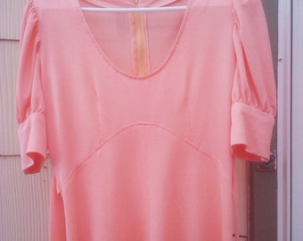 Vintage 1970s Peach Pink  Babydoll Dress  Indie Boho  Mod That 70s Show