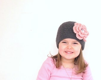 Julia Girl Crochet Baby/Toddler Hat Grey with Big Flower and Crystal button. You pick flower color sizes Newborn to Teen