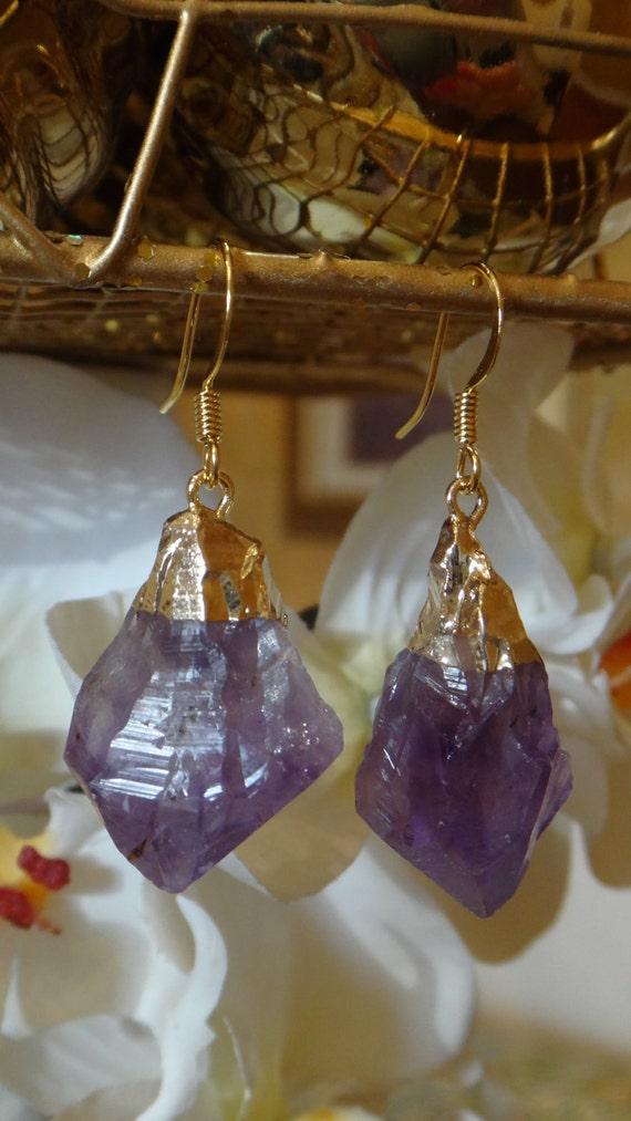 Luminous Amethyst Raw Amethyst Purple, Violet /Gold Plated Earring, Stone Jewelry, Druzy Earrings, Geode Druzy Earrings, Agate Earrings