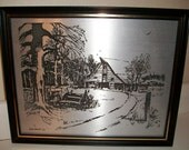 Vintage Art Signed Metal Etchings circa 1969 Jene Burns Country Farm Scenes