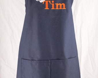Personalized Mens Apron, Chef's Apron, Navy Embroidered Apron, Custom Apron, BBQ Apron, Grilling Apron, Groomsmen Gift, Father's Day Gift