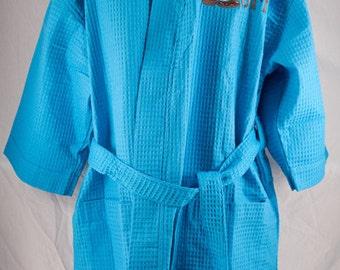 Personalized Waffle Weave Kimono Robe, Thigh Length Spa Robe, Monogrammed Robe, Bridesmaid Gifts, Wedding Robes,