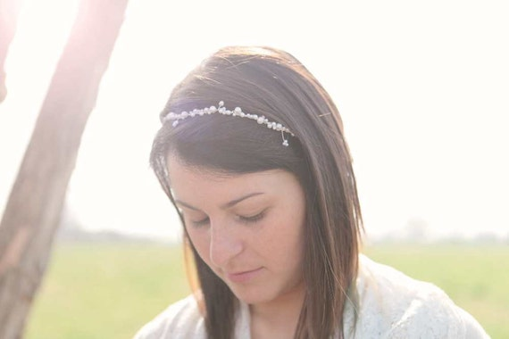Wedding pearl headband, silver tiara, bridal head wrap, bride hair accessories, beaded halo, pearl hair band - LAST PIECE - ODETTE