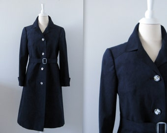 On Sale Vintage 1970s Trench Coat - Navy Faux Suede -  Belted - Medium Large