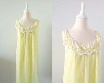 Lemon Drop Nightie - Vintage 1960s Chiffon Nightgown in Yellow - Small Medium by Dore