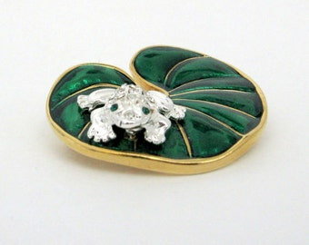 Vintage Enamel Brooch - 1960s - Frog and Lilly Pad - Gold and Emerald