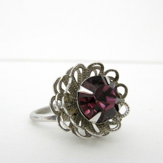 Vintage 1960s Silver and Amethyst Cocktail Ring by Sarah Coventry