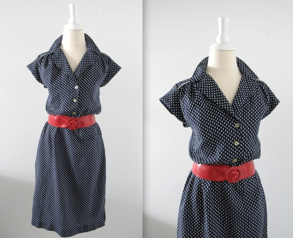 Vintage Sailor Day Dress - 1970s - Navy and White - Small