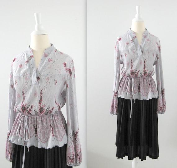 Vintage 1970s Pleated Dress - Grey and Black Floral Print - Medium