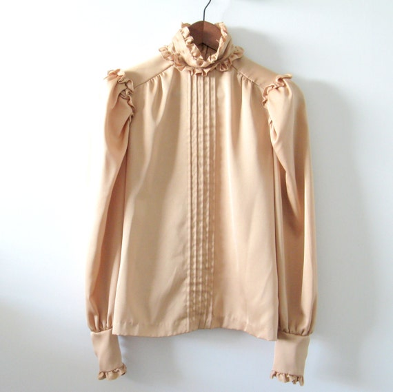 Vintage 1970s Golden Copper Victorian Blouse w/ Buttons Down Back - Small