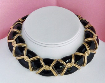 Ciner black enamel 12K plated gold choker and earrings set