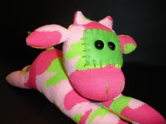 Pink and Green Cow Sock Animal