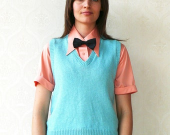 "Vintage hand knitted vest, small medium - sky blue . . . . . . . . . . ""Like"" our fb page for 10% discount"