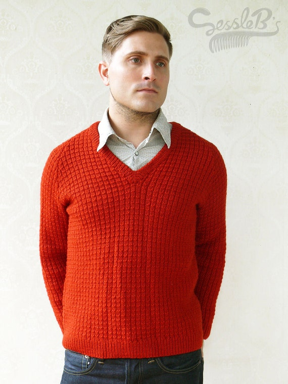 """Vintage Men's chunky waffle knitted sweater, Medium - Burnt Red """"Like"""" our fb page for 10% discount"""
