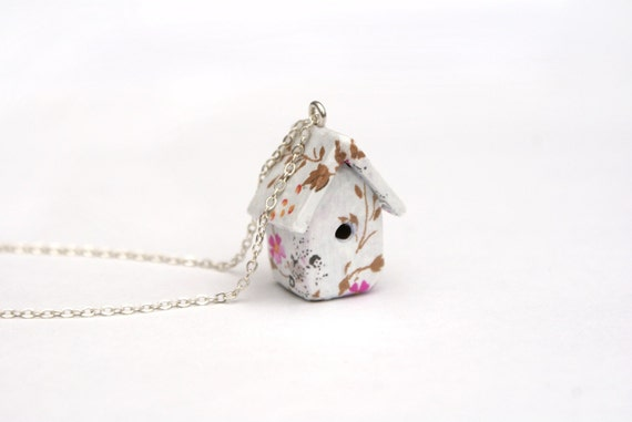 Floral Birdhouse Necklace Mother's Day Cottage Chic, Whimsical, 16 inch chain