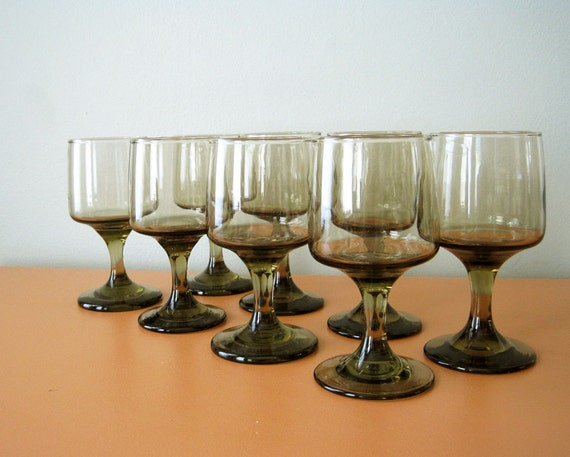 Vintage Libbey Smoky Brown Wine Glasses Set Of Eight