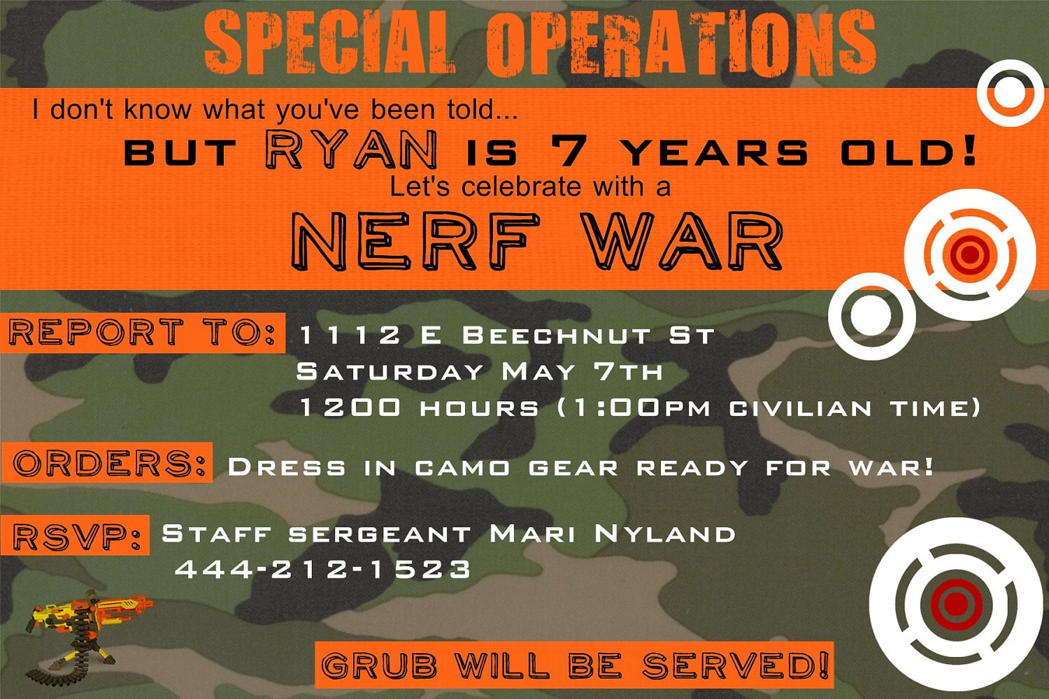 Nerf birthday invitation you print by yellowlemons on Etsy