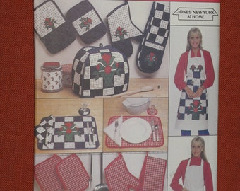 Vintage Butterick Crafts Sewing Pattern Apron, Napkin and Kitchen Accessories Pattern 4147 New Uncut 1984