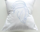 Blue and White Throw Pillow Cover in Evangeline Design hand embroidered 14x14 inches pastels mermaid