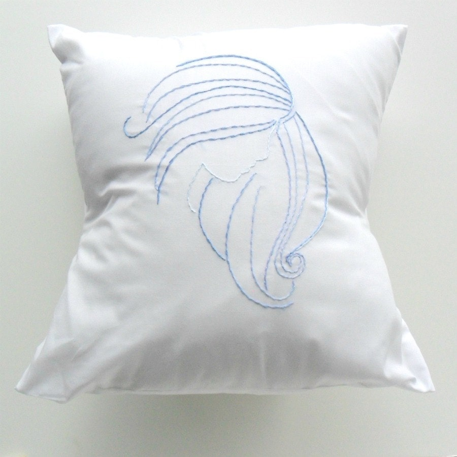 Blue and White Throw Pillow Cover in Evangeline Design hand