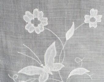 Exquisite Vintage White Batiste Handkerchief  with Butterflies