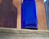 """Vintage 30's 'MC KESSON'S"""" Cobalt Blue Ribbed Bottle with its Original McKesson Cap Top"""
