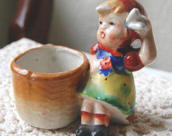 Vintage Occupied Japan Girl Toothpick Holder / Mini Planter Japan Hand Painted