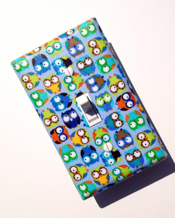 Baby Boy Nursery Decor / Owl Light Switch Plate Cover / Children Kids Room / Boys Room / Timeless Treasures Mini Owls Blue